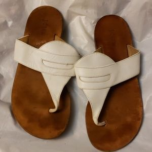 JCREW WHITE AND BROWN SLIPPERS SIZE 7.5